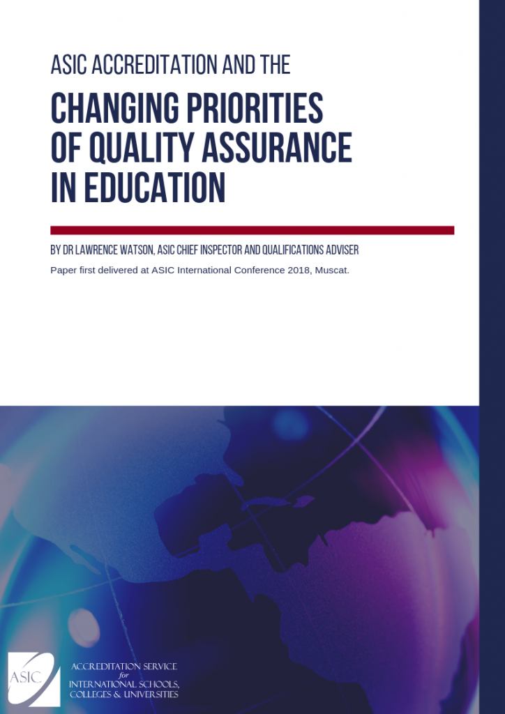 Title page: ASIC Accreditation and the Changing Priorities of Quality Assurance in Education by Dr Lawrence Watson